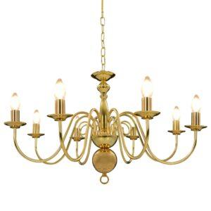 Lustre de 8 lâmpadas E14 dourado - PORTES GRÁTIS