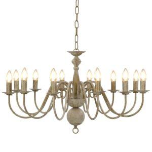 Lustre antigo de 12 lâmpadas E14 branco - PORTES GRÁTIS