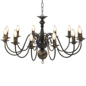 Lustre antigo de 12 lâmpadas E14 preto - PORTES GRÁTIS