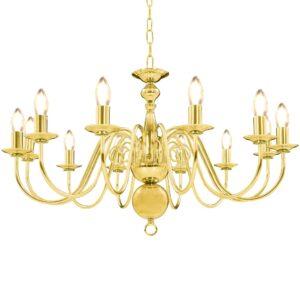 Lustre de 12 lâmpadas E14 dourado - PORTES GRÁTIS