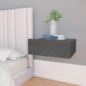 Mesa de cabeceira suspensa 40x30x15 cm cinzento brilhante - PORTES GRÁTIS