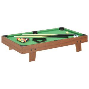 Mini mesa de bilhar 92x52x19 cm castanho e verde - PORTES GRÁTIS
