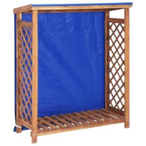 Abrigo para arrumação de lenha 105x38x118 cm acácia maciça - PORTES GRÁTIS