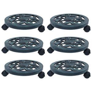 Suportes com rodas para plantas 6 pcs 30 cm plástico verde - PORTES GRÁTIS