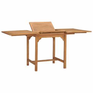Mesa de jardim extensível (110-160)x80x75cm madeira teca maciça - PORTES GRÁTIS