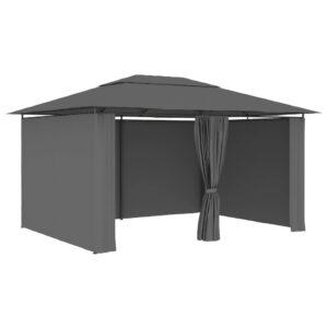 Tenda de jardim com cortinas 4x3 m antracite - PORTES GRÁTIS