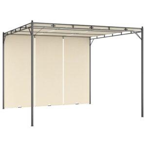Gazebo de jardim com cortina lateral 3x3x2,25m cor creme - PORTES GRÁTIS
