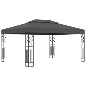 Gazebo com telhado duplo 3x4 m antracite - PORTES GRÁTIS