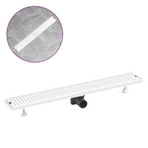 Dreno de chuveiro com pontos 83x14 cm aço inoxidável - PORTES GRÁTIS
