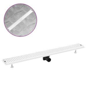 Dreno de chuveiro com pontos 103x14 cm aço inoxidável - PORTES GRÁTIS
