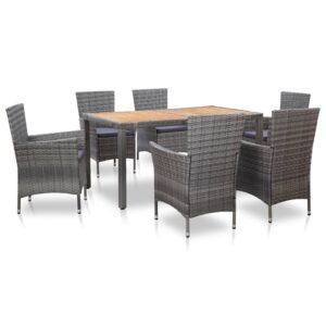 7 pcs conjunto jantar exterior com almofadões vime PE cinzento - PORTES GRÁTIS