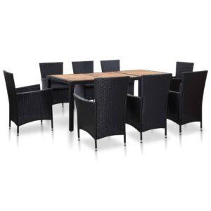 9 pcs conjunto jantar exterior com almofadões vime PE preto  - PORTES GRÁTIS