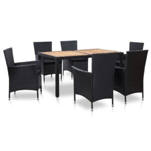 7 pcs conjunto jantar exterior com almofadões vime PE preto - PORTES GRÁTIS