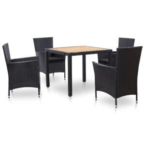 5 pcs conjunto jantar exterior com almofadões vime PE preto - PORTES GRÁTIS