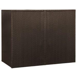 Unidade dupla p/ caixotes do lixo vime PE 153x78x120cm castanho - PORTES GRÁTIS