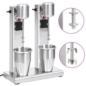 Misturador para batidos com copos duplos aço inoxidável 2 L - PORTES GRÁTIS