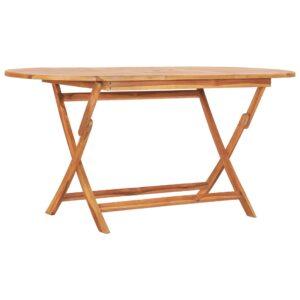 Mesa de jardim dobrável 160x80x75 cm madeira de teca maciça - PORTES GRÁTIS