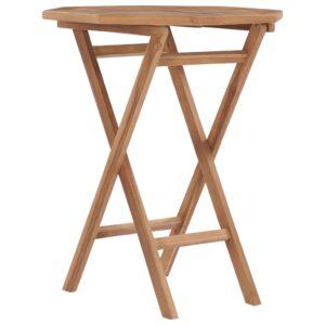 Mesa de jardim dobrável 60x60x75 cm madeira de teca maciça - PORTES GRÁTIS