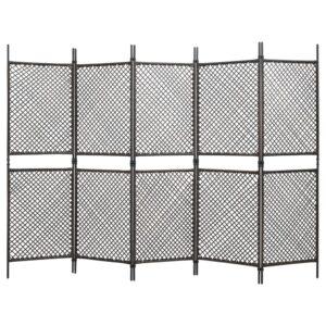 Divisória de quarto com 5 painéis 300x200 cm vime PE castanho - PORTES GRÁTIS