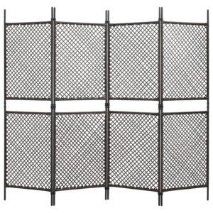 Divisória de quarto com 4 painéis 240x200 cm vime PE castanho - PORTES GRÁTIS