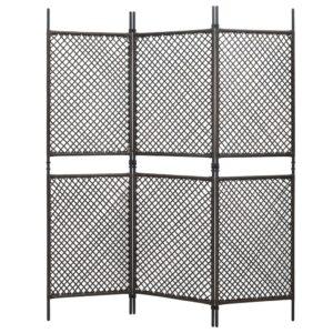 Divisória de quarto com 3 painéis 180x200 cm vime PE castanho - PORTES GRÁTIS