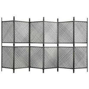 Divisória de quarto com 6 painéis 360x200 cm vime PE antracite - PORTES GRÁTIS
