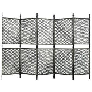 Divisória de quarto com 5 painéis 300x200 cm vime PE antracite - PORTES GRÁTIS