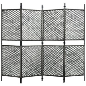 Divisória de quarto com 4 painéis 240x200 cm vime PE antracite - PORTES GRÁTIS