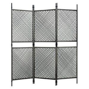 Divisória de quarto com 3 painéis 180x200 cm vime PE antracite - PORTES GRÁTIS