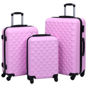Conjunto de tróleis estojo rígido 3 pcs ABS rosa - PORTES GRÁTIS