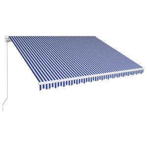 Toldo retrátil manual 450x300 cm azul e branco - PORTES GRÁTIS
