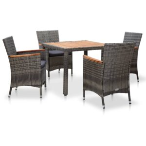 5 pcs conjunto jantar exterior com almofadões vime PE cinzento - PORTES GRÁTIS