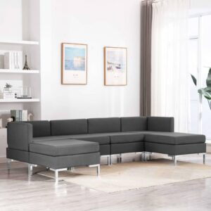 6 pcs conjunto de sofás tecido cinzento-escuro - PORTES GRÁTIS