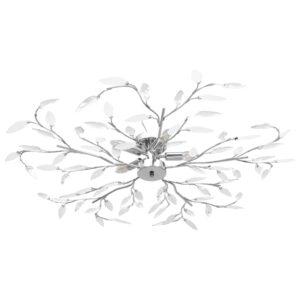 Candeeiro teto braços folhas de cristal acrílico 5 E14 branco - PORTES GRÁTIS