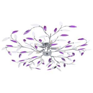 Candeeiro teto braços folhas de cristal acrílico 5 E14 roxo  - PORTES GRÁTIS