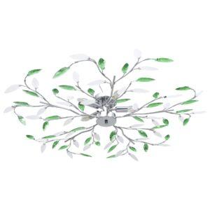 Candeeiro teto braços folhas de cristal acrílico 5 E14 verde - PORTES GRÁTIS
