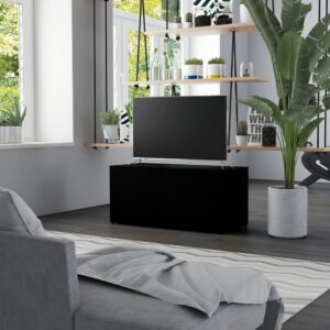 Móvel de TV 80x34x36 cm contraplacado preto - PORTES GRÁTIS