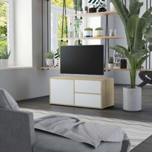 Móvel de TV 80x34x36 cm contraplacado branco e carvalho sonoma - PORTES GRÁTIS