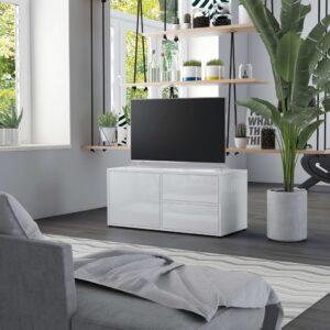 Móvel de TV 80x34x36 cm contraplacado branco brilhante - PORTES GRÁTIS