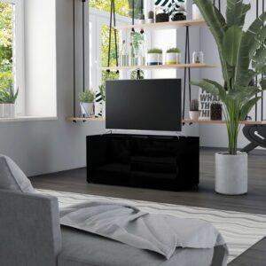 Móvel de TV 80x34x36 cm contraplacado preto brilhante - PORTES GRÁTIS