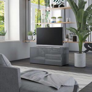 Móvel de TV 80x34x36 cm contraplacado cinzento brilhante - PORTES GRÁTIS