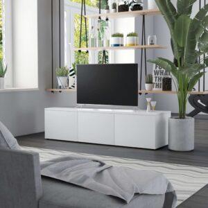 Móvel de TV 120x34x30 cm contraplacado branco - PORTES GRÁTIS