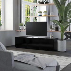 Móvel de TV 120x34x30 cm contraplacado preto - PORTES GRÁTIS