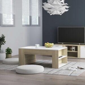 Mesa de centro 100x60x42 cm contraplacado cor branco/carvalho - PORTES GRÁTIS