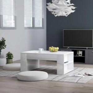 Mesa de centro 100x60x42 cm contraplacado branco brilhante - PORTES GRÁTIS