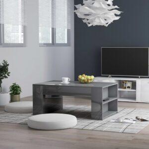Mesa de centro 100x60x42 cm contraplacado cinzento brilhante - PORTES GRÁTIS