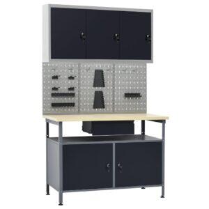 Bancada de trabalho com três painéis de parede e um armário - PORTES GRÁTIS