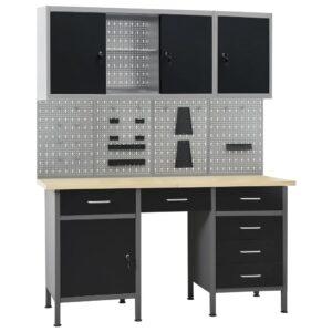 Bancada de trabalho com 4 painéis de parede e 2 armários - PORTES GRÁTIS