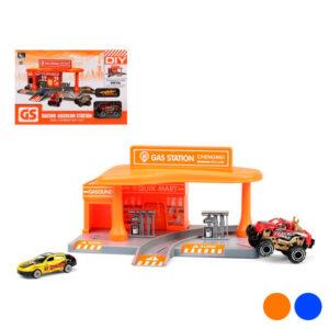 Playset de Veículos Racing Gas Station Laranja