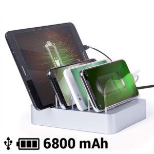 Carregador USB para Quatro Dispositivos Móveis 6800 mAh 145769 Cinzento